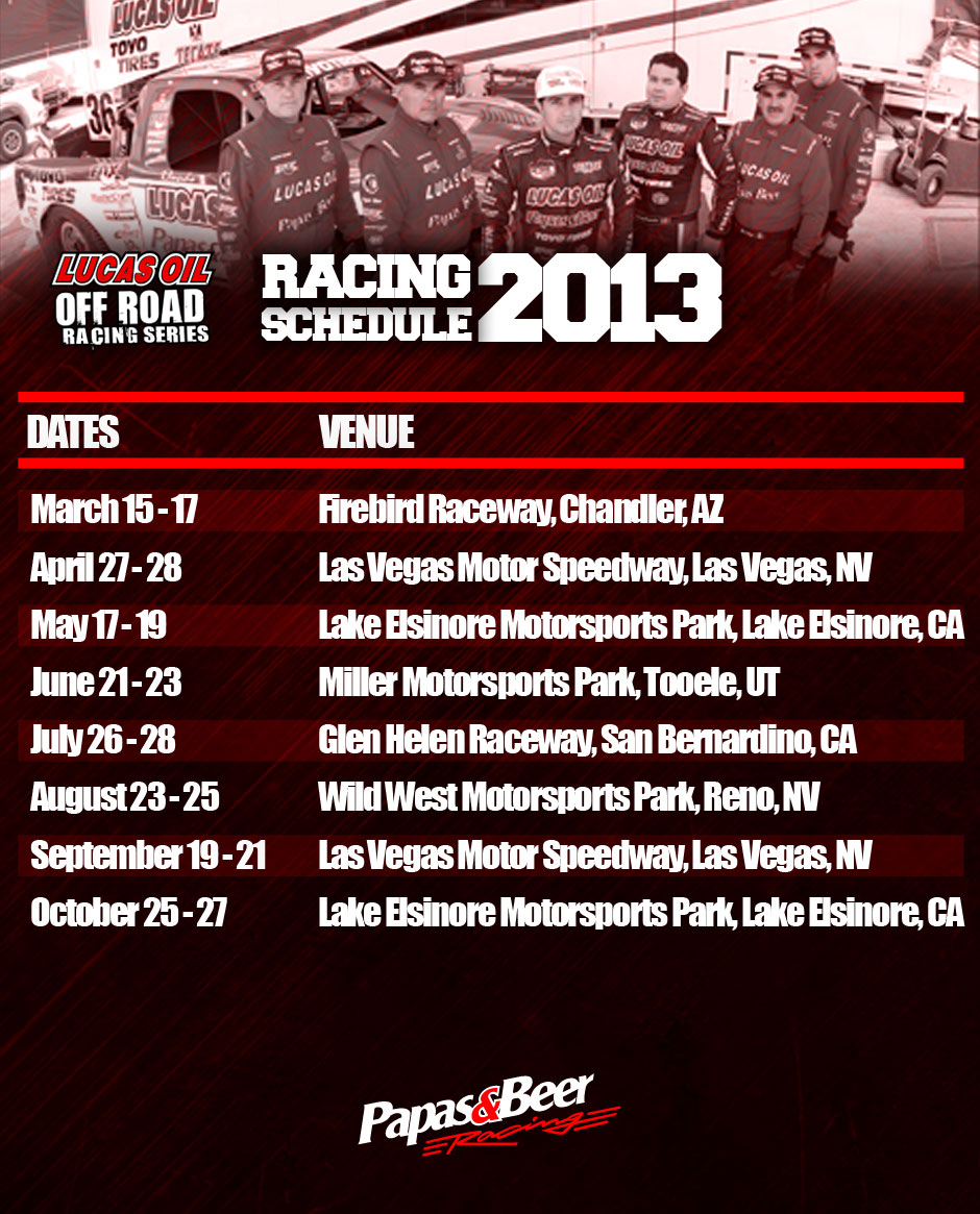 Lucas Oil Racing Racing Schedule 2013